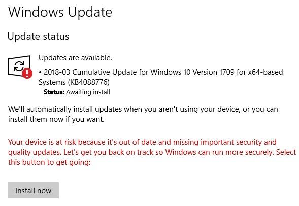 error windows 10 version 1709